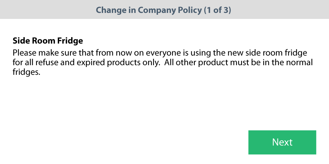 Jolt Announcement or memo to employees