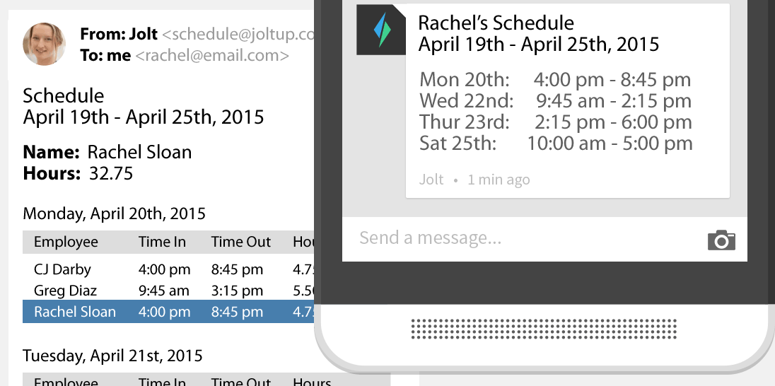 Jolt Individualized email and text schedules sent to employees