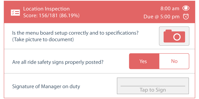 Jolt Location inspection form with different item types